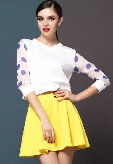 Blue Polka Dot Long Sleeve Top With Yellow Skirt