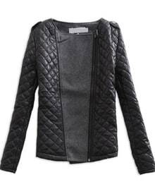 Black Grey Long Sleeve Quilted Asymmetric Zip Jacket