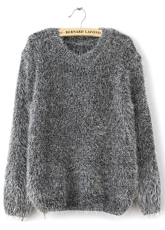 Grey Long Sleeve Shaggy Mohair Loose Sweater -SheIn(Sheinside)