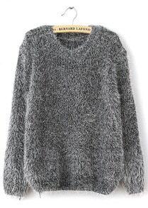 Grey Long Sleeve Shaggy Mohair Loose Sweater