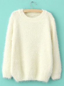 Beige Long Sleeve Shaggy Mohair Loose Sweater -SheIn(Sheinside)
