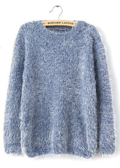 Blue Long Sleeve Shaggy Mohair Loose Sweater