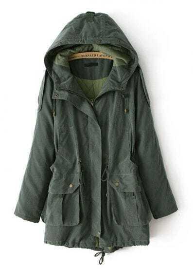 Army Green Hooded Long Sleeve Pockets Coat