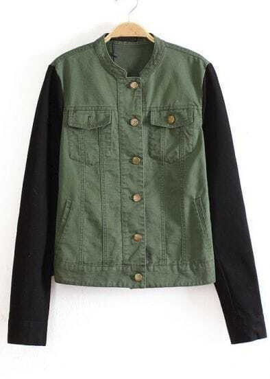 Green Stand Collar Contrast Long Sleeve Slim Jacket