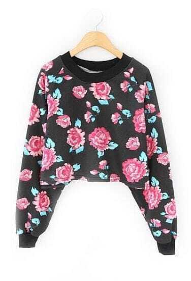 Black Long Sleeve Floral Crop Sweatshirt