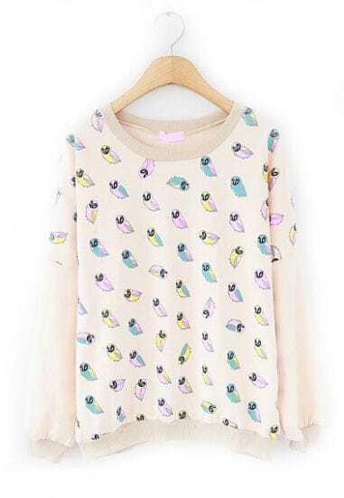 Apricot Long Sleeve Owl Print Loose Sweatshirt