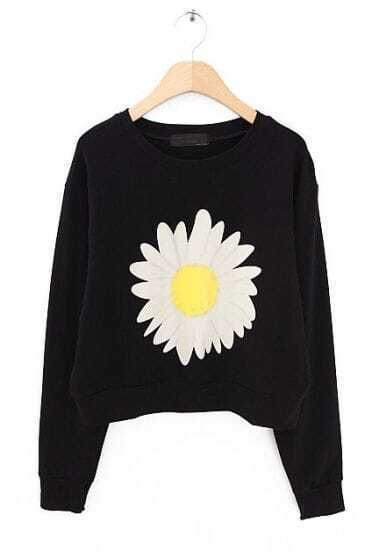 Black Long Sleeve Sunflower Print Crop Sweatshirt