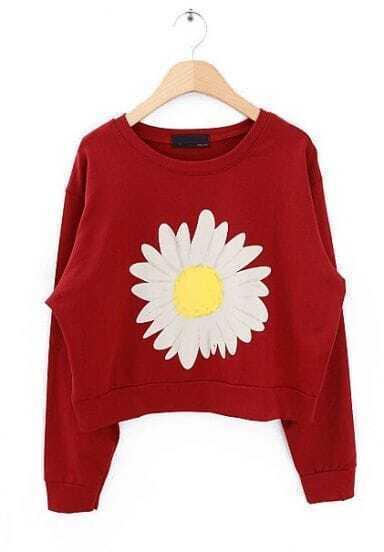 Wine Red Long Sleeve Sunflower Print Crop Sweatshirt
