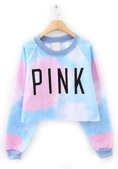 Blue Long Sleeve PINK Print Crop Sweatshirt -SheIn(Sheinside)