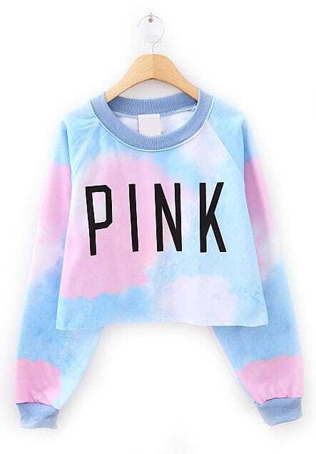 Blue Long Sleeve PINK Print Crop Sweatshirt -SheIn(Sheinside)