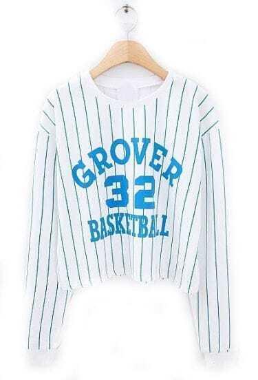 White Blue Vertical Stripe 32 Print T-Shirt