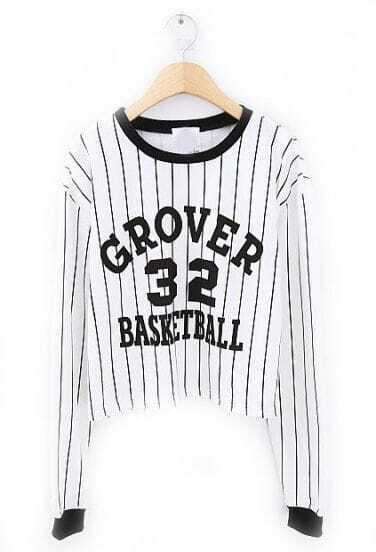 White Black Vertical Stripe 32 Print T-Shirt