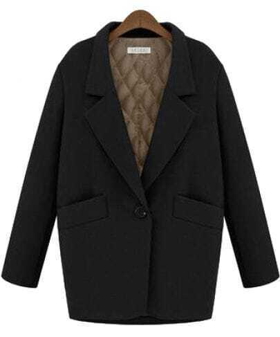 Black Notch Lapel Long Sleeve Pockets Coat