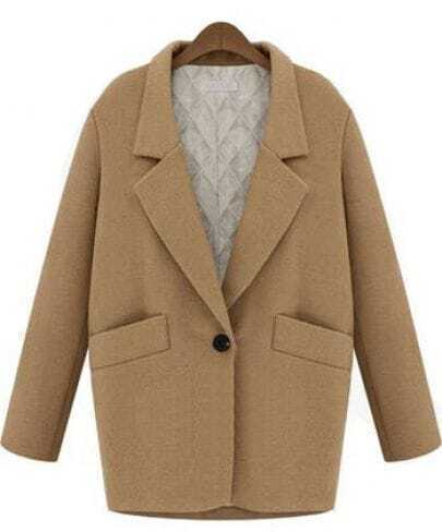 Apricot Notch Lapel Long Sleeve Pockets Coat