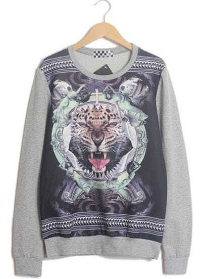 Grey Long Sleeve Tiger Skull Print Sweatshirt
