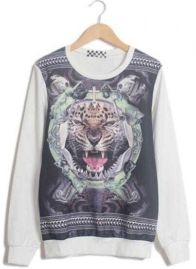 White Long Sleeve Tiger Skull Print Sweatshirt