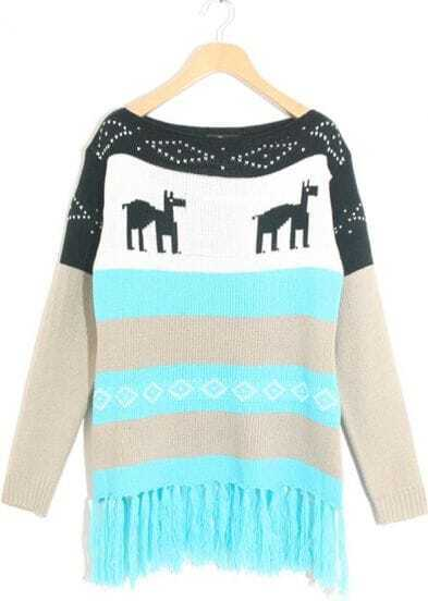 Blue Apricot Striped Deer Pattern Tassel Sweater