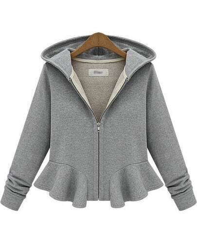 Grey Hooded Long Sleeve Ruffle Crop Outerwear