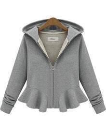 Grey Hooded Long Sleeve Ruffle Crop Outerwear