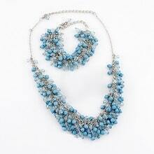 Blue Bead Tassel Silver Chain Necklace Sets