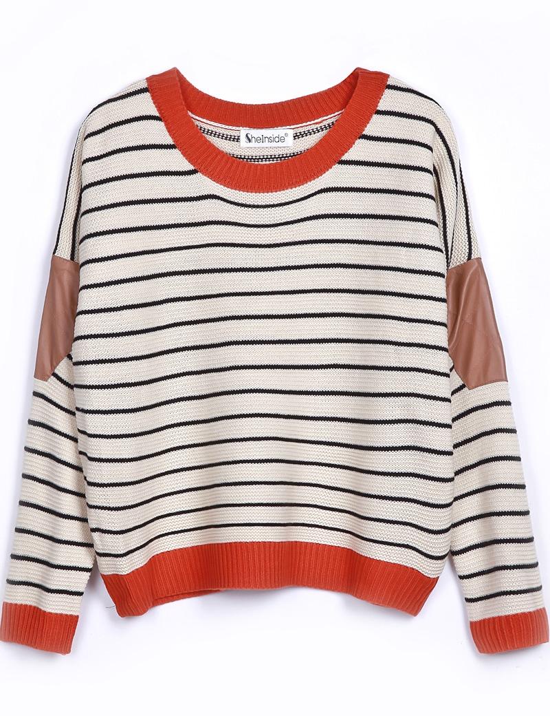 Beige Contrast Leather Long Sleeve Striped Sweater -SheIn(Sheinside)