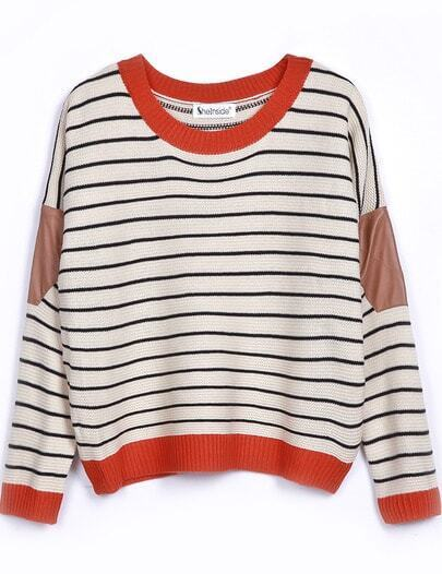 Beige Contrast Leather Long Sleeve Striped Sweater