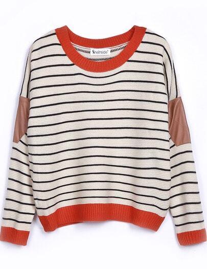 Suéter a rayas-naranjo&balnco