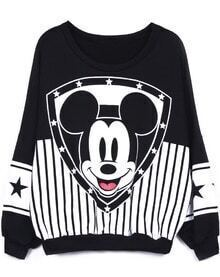 Black Long Sleeve Vertical Stripe Mickey Mouse Sweatshirt