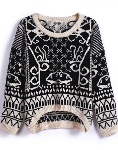 Black Long Sleeve Geometric Pattern Knit Sweater