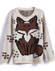 Beige Long Sleeve Fox Pattern Knit Sweater
