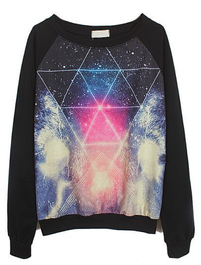 Black Long Sleeve Galaxy Triangle Print Sweatshirt