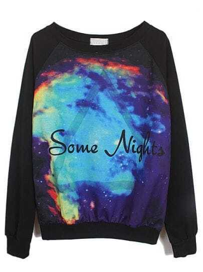 Black Long Sleeve Some Nights Triangle Print Sweatshirt