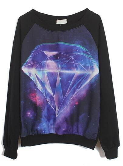 Black Long Sleeve Galaxy Diamond Print Sweatshirt