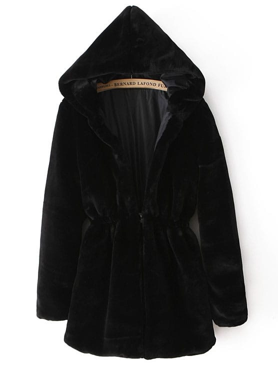 Black Hooded Long Sleeve Drawstring Fur Coat -SheIn(Sheinside)
