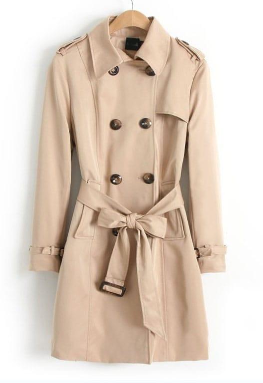 khaki long sleeve belt epaulet trench coat shein sheinside. Black Bedroom Furniture Sets. Home Design Ideas