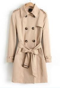 Khaki Long Sleeve Belt Epaulet Trench Coat