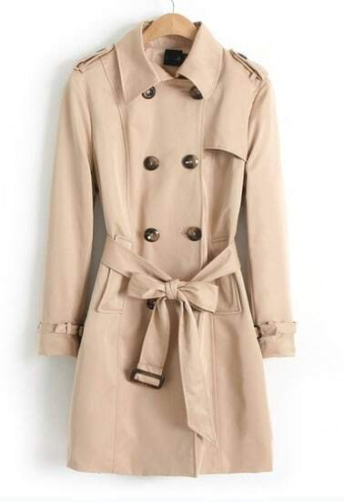 Khaki Long Sleeve Belt Epaulet Trench Coat