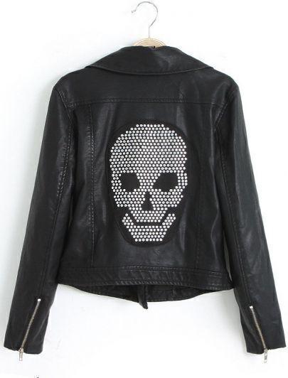 Black Long Sleeve Skull Embellished PU Leather Jacket