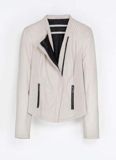 Beige Stand Collar Long Sleeve Crop PU Jacket