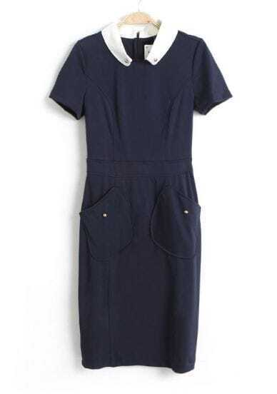 Blue Contrast Lapel Short Sleeve Pockets Dress
