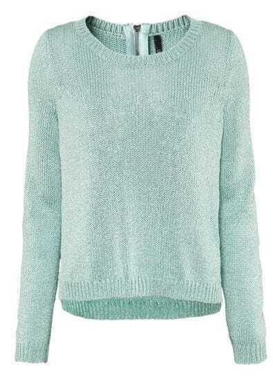 Green Long Sleeve Metallic Yoke Zipper Sweater