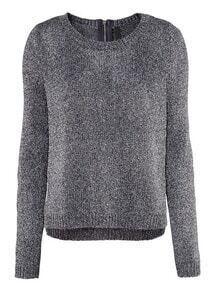 Black Long Sleeve Metallic Yoke Zipper Sweater