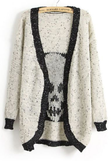 Beige Long Sleeve Contrast Trims Skull Cardigan
