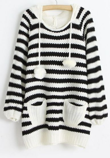 Black White Striped Hooded Hollow Sweater