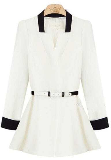 White V neck Long Sleeve Belt Peplum Blazer