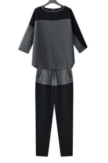 Grey Black Three Quarter Length Sleeve Shirt With Pants