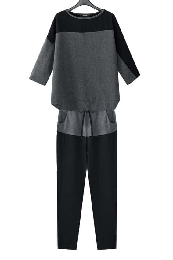 Grey black three quarter length sleeve shirt with pants for Three quarter length shirt