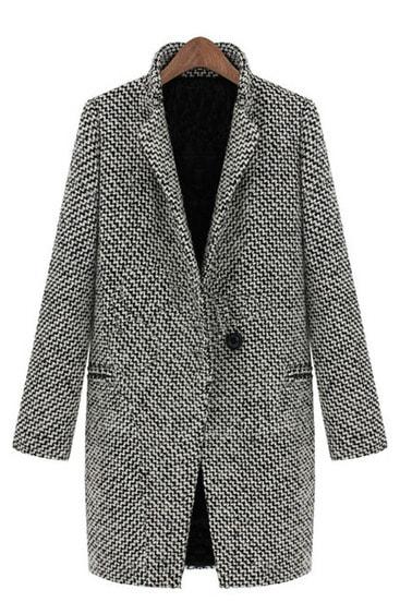 Bianco e nero risvolto oversize cappotto con lunghe maniche