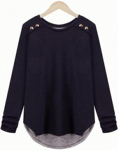 Navy Long Sleeve Back Split Loose T-Shirt