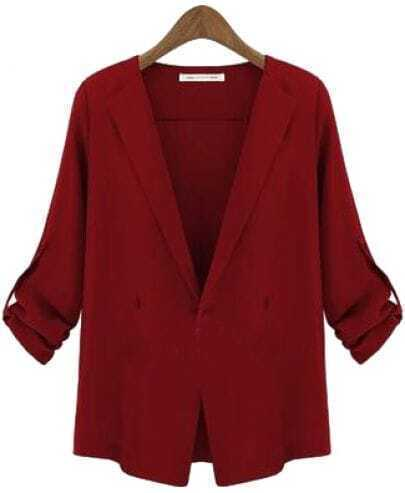 Red Lapel Long Sleeve Slim Trench Coat
